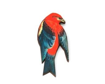 Red Bird Brooch, Wooden Bird Brooch, Bird Illustration, Animal Brooch, Wood Jewelry