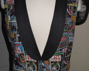 Star Wars Comic Book print Tuxedo vest