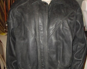 Reduced to Move..Rare Vintage wpl 12739 clothing label 1959 Mans Leather Motorcycle Jacket With Buckle Belt and Back Protection