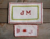 Antique Monogram Sampler Pouch, Cross Stitch Sampler, Vintage Needle Arts, Sewing, Fiber Arts, Christmas Gift