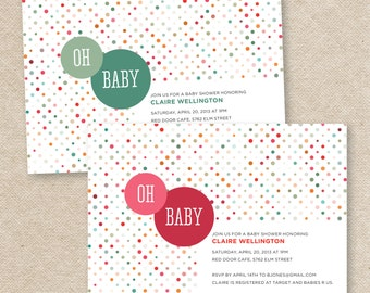 Oh Baby Dots Babyshower Invitation