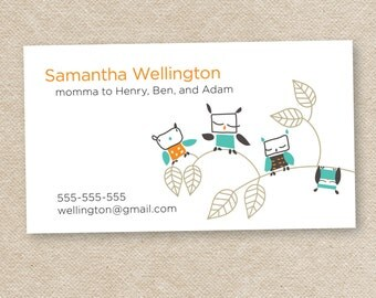 50 Stylish Mommy Calling Cards (Lots O Owls)