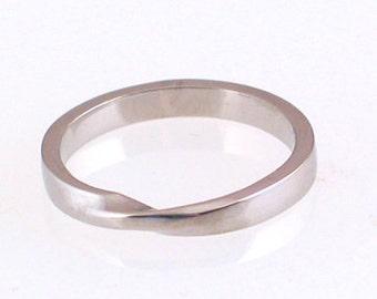 Skinny Palladium Mobius Ring, size 3 - 14
