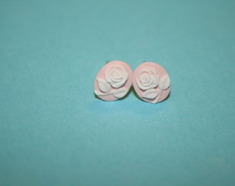 Tiny Pink Rose Cameo Earrings