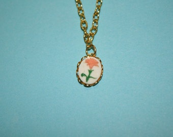 Tiny Pink Flower Cameo Necklace