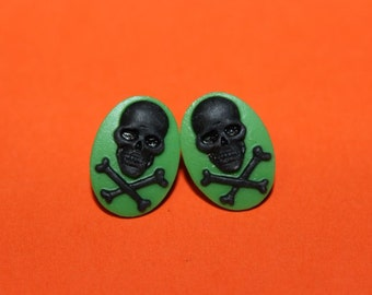 SALE Small Green and Black Skull & Crossbones Cameo Earrings