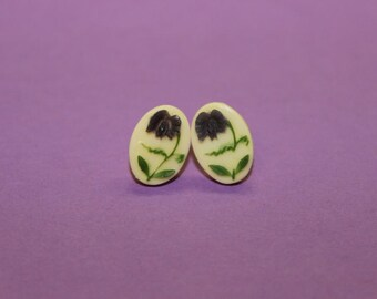 Vintage Purple Orchid Cameo Earrings