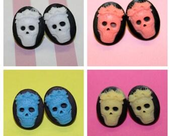 Small Flower Skull Cameo Earrings