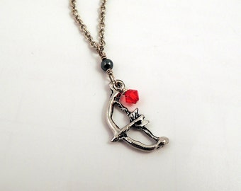 The Hunter - Pewter Bow and Arrow necklace