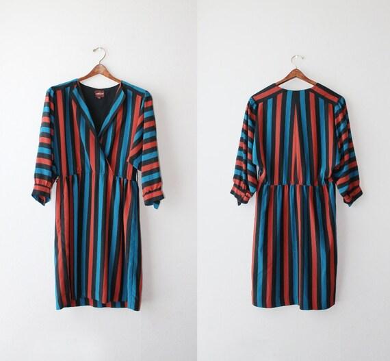 SALE - 1970's Jordache Rust Striped Shirt Dress Size Small to Medium