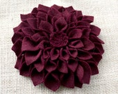 Burgundy Felt Flower Dahlia Brooch