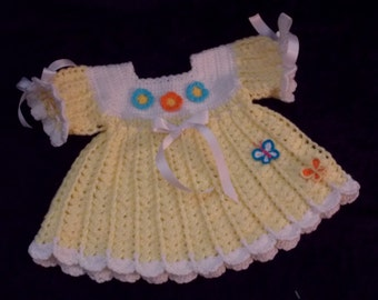 Yellow and White Baby Dress Crochet Dress 3 to 6 months Sweater Dress Infant Dress Heirloom Flowers and Butterflies Appliques READY TO SHIP