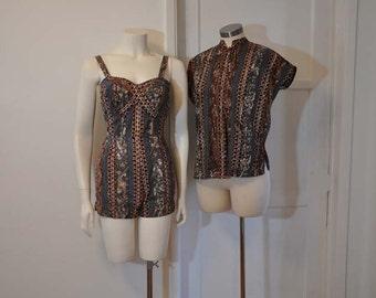 vintage 50s swim suit / Cross ur Heart Vintage 1950's Hawaiian Nani Swimsuit Shirt Set