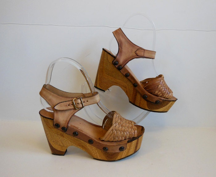 70s platform shoes vintage 1970s wood by planetclairevintage