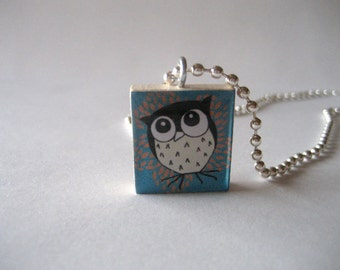 Owl Themed Scrabble Tile Necklace