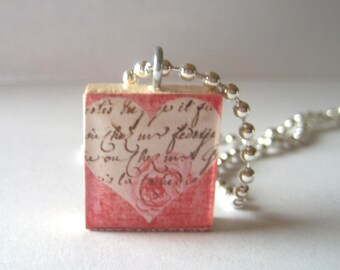 Pretty Heart Scrabble Tile Necklace