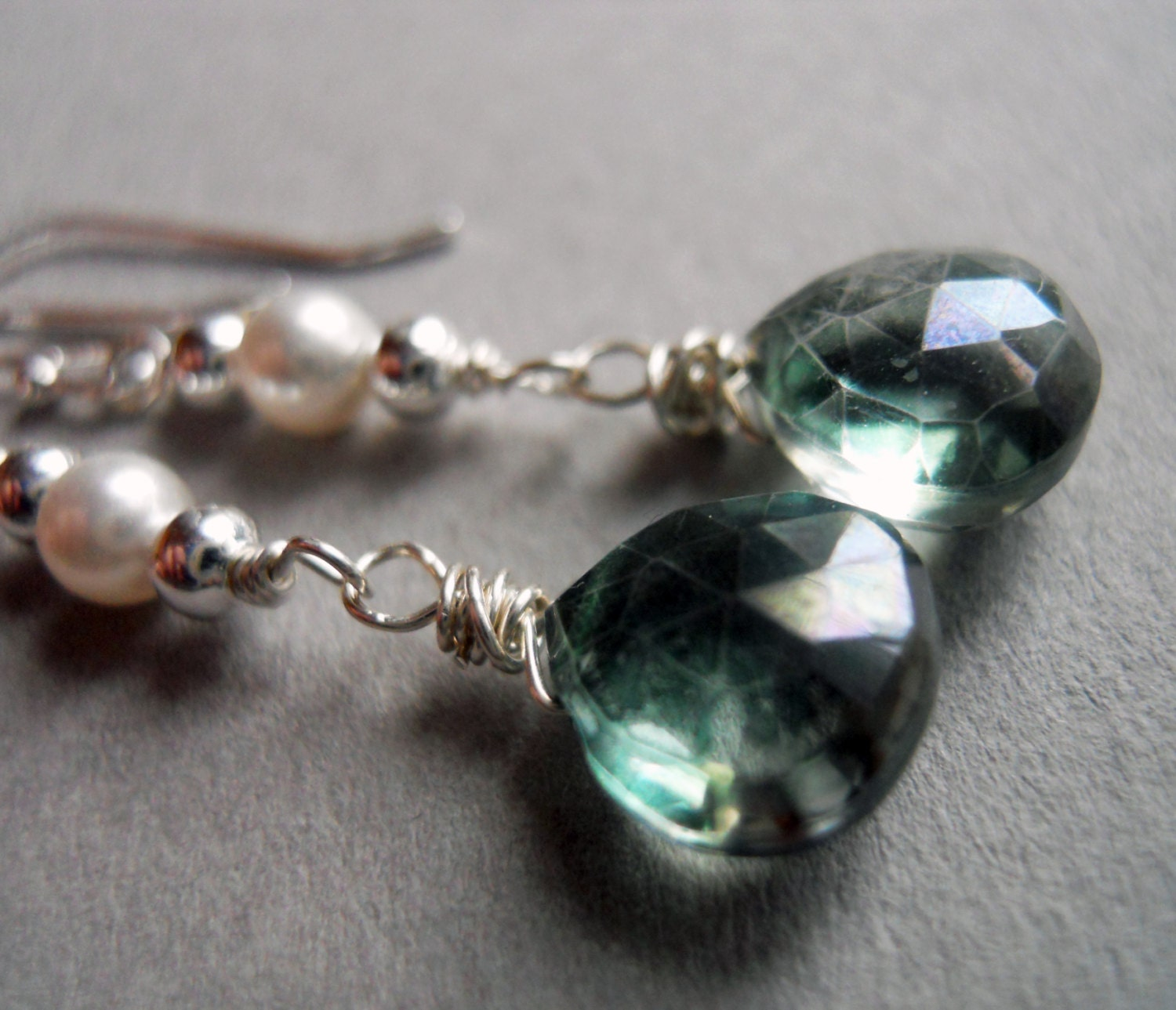 Green Mystic Quartz and Pearl earrings - $32.00 USD