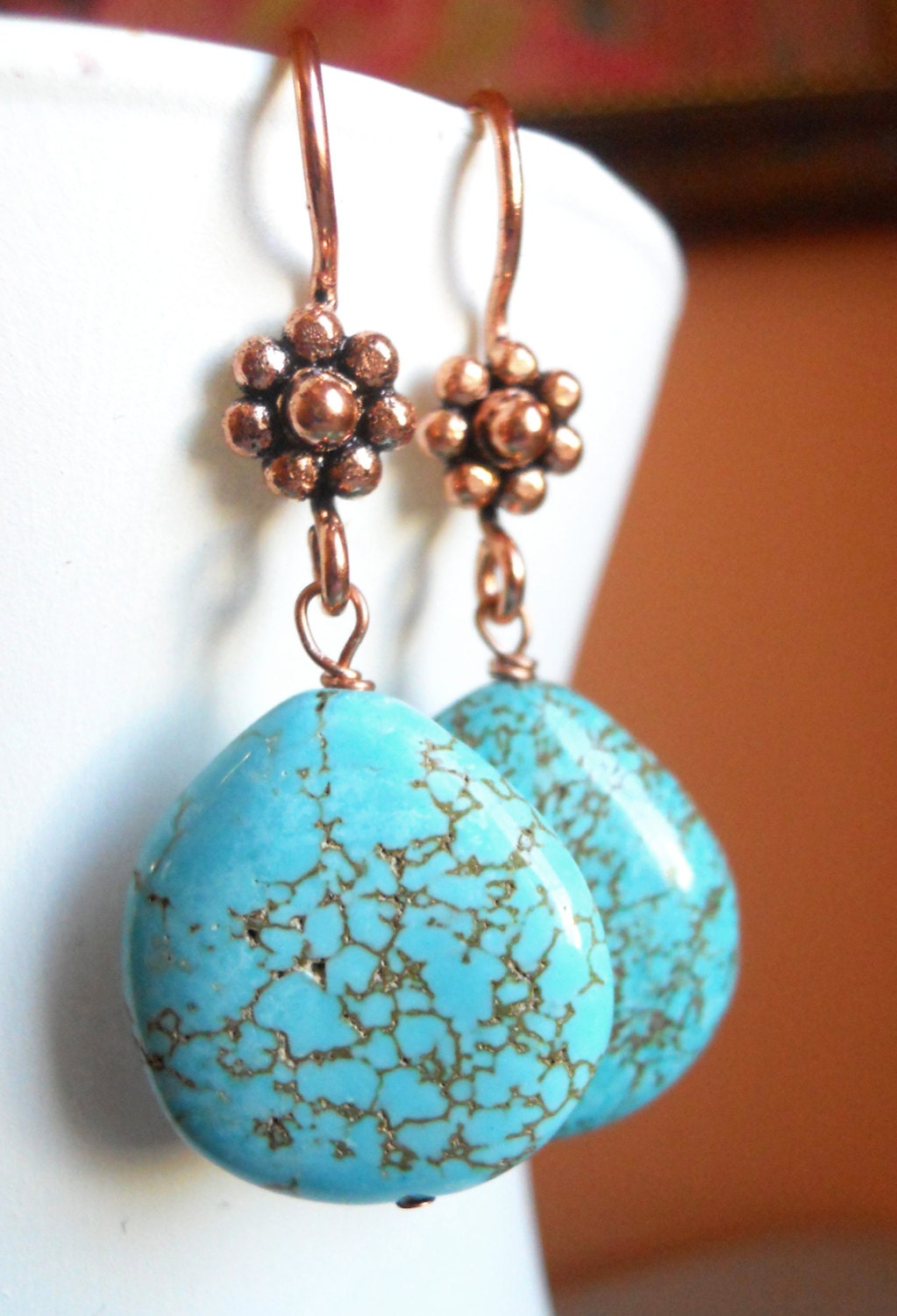 Howlite large teardrop copper earrings - $30.00 USD