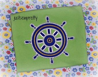 Satin Nautical Helm Embroidery Applique Design
