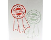 Congratulations Celebrate Good News Hip, Hip, Hooray Letterpress Graduation Achievement Card in Red and Sea Green