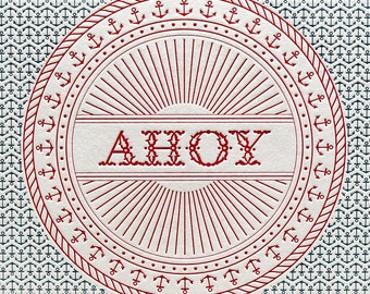 Ahoy blue red anchor nautical letterpress art print 8 by 10