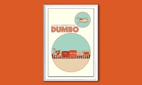 Nursery poster Dumbo 12x18 inches retro print