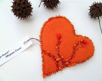 Fiber art pin, ORANGE HEART, marked down 50%, statement felt brooch, bead embroidery, eco-friendly, bohemian, hand stitched