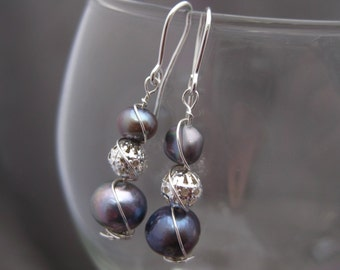Iridescent Blue Pearl Wire Wrapped Earrings Romantic Beachy