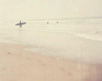 beach cottage decor, surfer photography, surfer wall art, Step into Liquid, beach photo, pale cream, neutral, dreamy, winter gray California