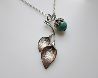 Calla Lily Necklace in Silver Finish with Turquoise Stone