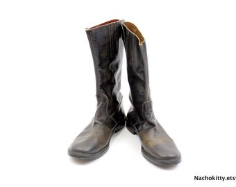 Imperial Biltrite Boots, Vintage Leather Zipper Back with Button Strap