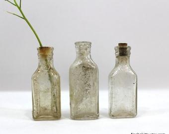 3 Tiny Rustic Bottles | Vintage Medicine