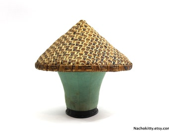 1900s Antique Japanese Farming Shade Hat, Handwoven