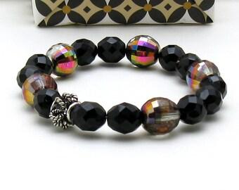 Black Modern Beaded Bracelet, Black Onyx and Crystal Stretch Bracelet, For Her Under 60, One of a Kind