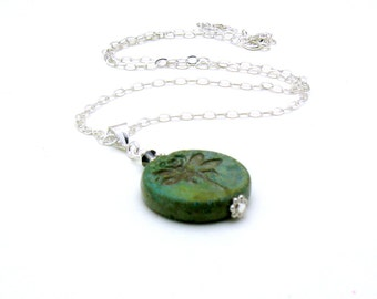 Green Dragonfly Sterling Silver Pendant Necklace for Her Under 70, Free US Shipping