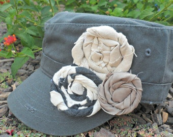 Tranquility Dark Grey Military Distressed Cadet Hat with Flowers