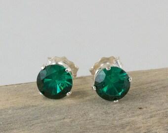 Emerald Stud Earrings 6mm Emerald Post Earrings May Birthstone Emerald Green Earrings