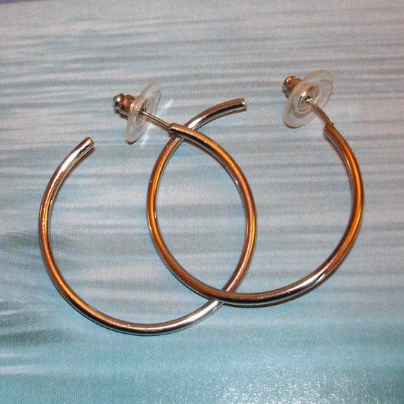 vintage silver pierced hoop earrings