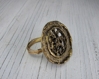 FUNKY BRASS RING, Wire Wrapped Ring - Unisex