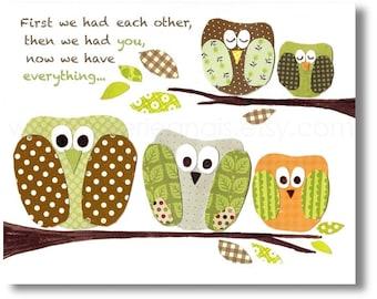 First we had each other Nursery art print - baby nursery decor - Kids art - nursery boy - green orange - owl - bird - The Five Of Us