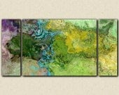 "Abstract art, 30x60 to 40x78 triptych gallery wrap giclee large canvas print, in green and blue, from abstract painting ""Southern Spring"""