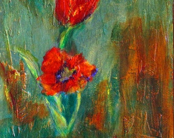 Original Painting Mixed Media Tulip Spring Flower Design on Plaster