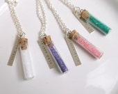 Fairy dust necklaces, choose a color, glitter dust with stamped charm, Easter gift, girl gift