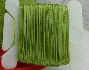 Kiwi Green Silk Like Beaders Secret Knotting Thread Beading Stringing Sewing 20 yards Polyester Card Bobbin