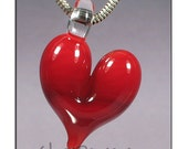 Red Glass Heart Pendant boro lampwork focal bead - Glass Peace glass jewelry (4806)