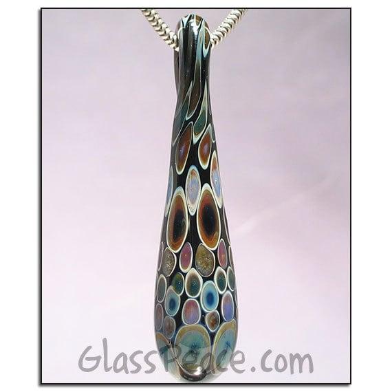Glass Jewelry Lampwork Pendant teardrop glass necklace focal bead - Glass Peace glass jewelry (5170)