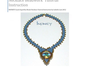 INFINITY Amazing Czech SuperDuo Beadwork Necklace surrounding Round Swarovski fancy stone  instructions for personal use only
