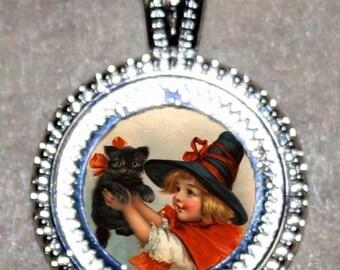 Witch Black Cat Pendant