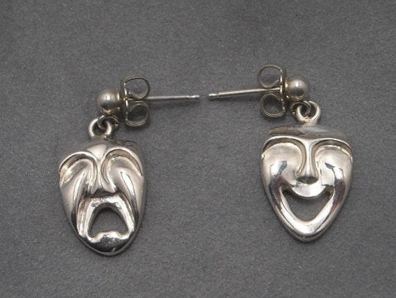 Theater faces  - comedy tragedy - sterling silver earrings