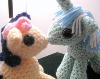 Custom Kissing Magnetic Pony Couple - My Little Pony Friendship is Magic Amigurumi Crocheted MLP Plush Dolls